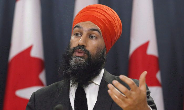 NDP Leader Jagmeet Singh speaks at a press conference as he unveils the NDP's top priorities ahead of the federal budget on Feb. 13, 2018. (The Canadian Press/ Patrick Doyle)