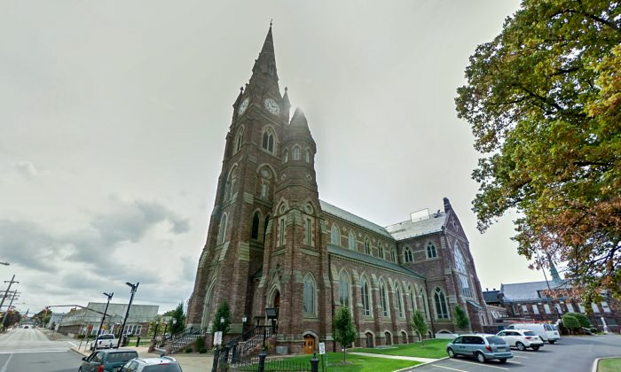 St. Peter Cathedral, in Erie, Pennsylvania, where a priest called the police after a man confessed to murder. (Screenshot via Google Maps)