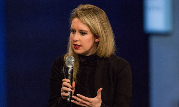 Elizabeth Holmes, founder and CEO of Theranos, speaks at the Clinton Global Initiative's closing session in New York City on Sept. 29, 2015. (Andrew Burton/Getty Images)