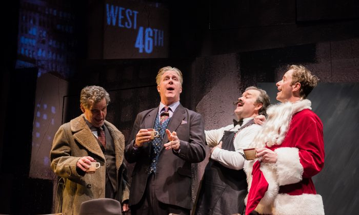 """(L–R) The Dutchman (Joel Jones), Blondy Swanson (Karl Kenzler), Good Time Charlie (Ron McClary), and Dancing Dan (Jeffrey C. Hawkins) are some of the Damon Runyon characters in """"Three Wise Guys.""""  (Marielle Solan)"""