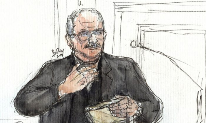 This courtroom sketch created on March 5, 2018 in Paris shows Venezualian criminal Ilich Ramirez Sanchez, aka Carlos,(Benoit Peryrucq/AFP/Getty Images)