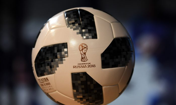 The official match ball of the Soccer Cup 2018 in Russia, on display during the Adidas annual press conference in Herzogenaurach, southern Germany, on March 14, 2018. (Christof Stache/AFP/Getty Images)