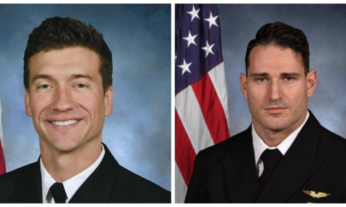 Navy officials have identified the two aviators killed on March 14 in Super Hornet crash as Lt. Cmdr. James Brice Johnson (L) and Lt. Caleb Nathaniel King. (Navy)