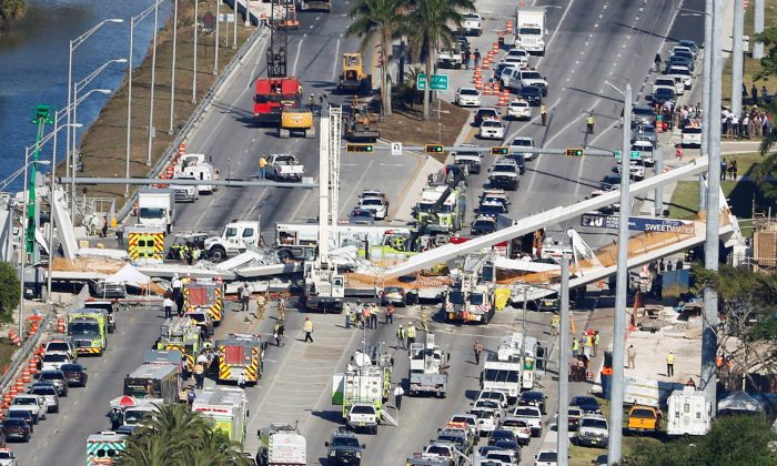 Aerial view of the pedestrian bridge collapse at Florida International University in Miami, March 15, 2018.  (Joe Skipper/Reuters)