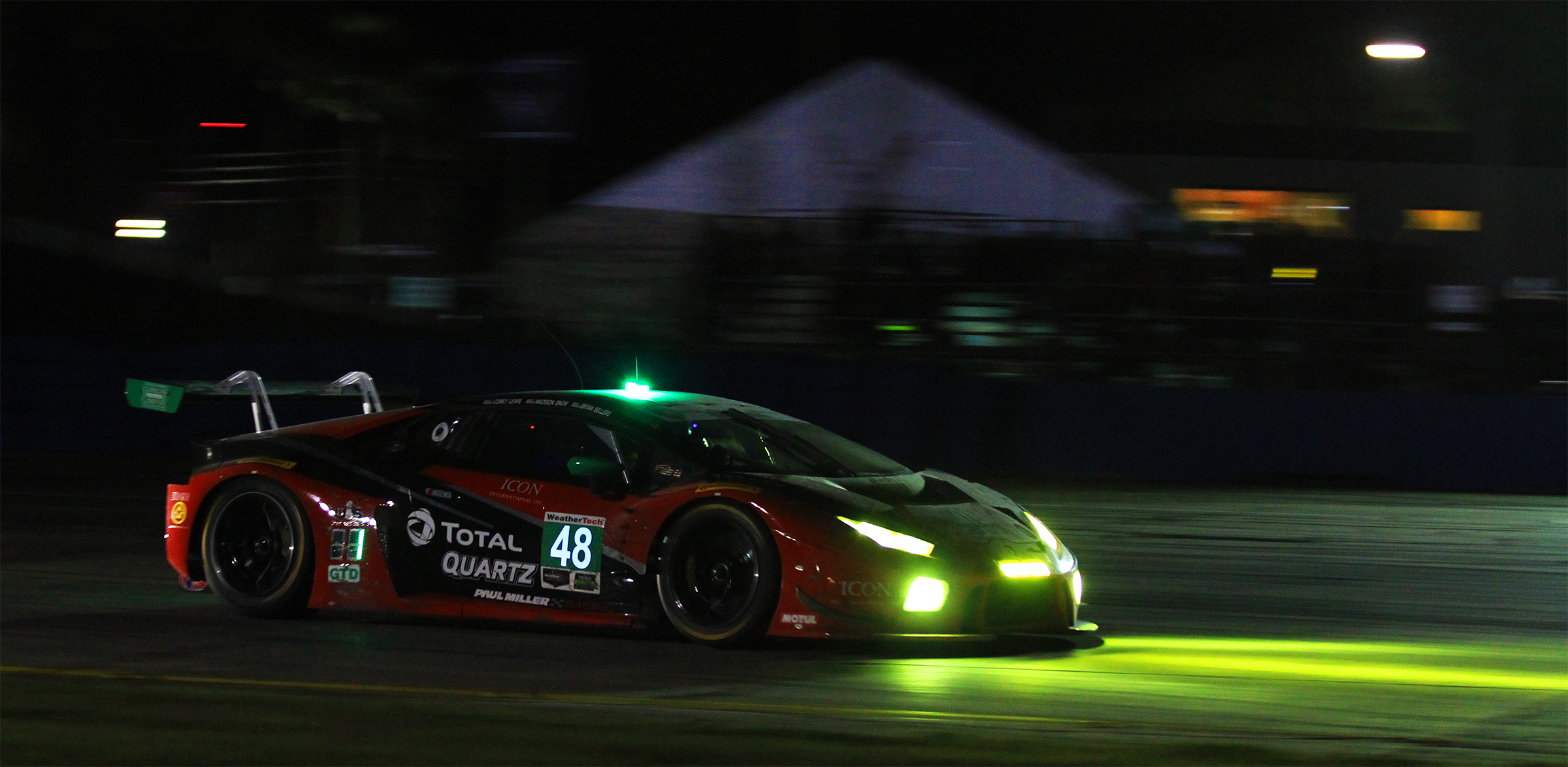 Brian Sellers brings the #48 Miller Racing Lamborghini home first in the GTD class at the 2018 Sebring 12 Hours. (Chris Jasurek/Epoch Times)