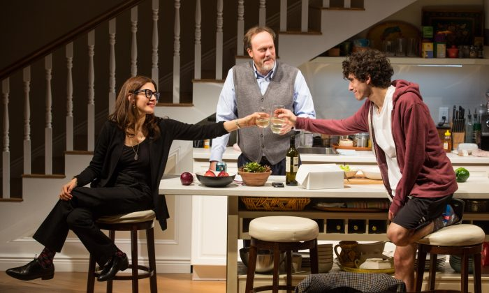 (L–R) Sherri Rosen-Mason (Jessica Hecht) her husband Bill (Andrew Garman) have high hopes for their son, Charlie (Ben Edelman), who hopes to attend Yale. (Jeremy Daniel)