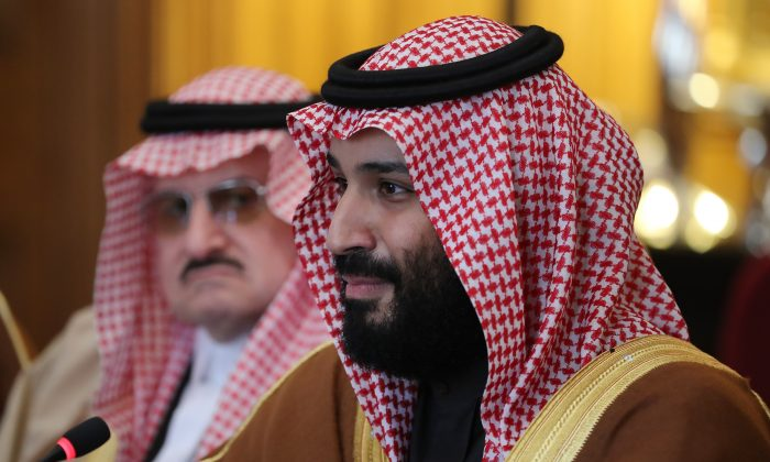 Saudi Crown Prince Mohammed bin Salman during a meeting with British government officials in London on March 7. (Dan Kitwood-WPA Pool/Getty Images)