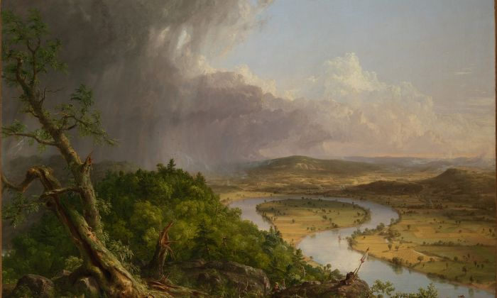 """""""View From Mount Holyoke, Northhampton, Massachusetts, After a Thunderstorm—The Oxbow"""" (detail), 1836 by Thomas Cole (1801–1848). Oil on canvas, The Metropolitan Museum of Art, gift of Mrs. Russell Sage, 1908. (The Metropolitan Museum of Art)"""