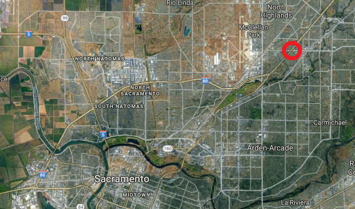 The approximate location of a gas station where missing teen Grace Vanderveen reappeared in Sacramento, Calif., on March 20, 2018. (Screenshot via Google Maps)