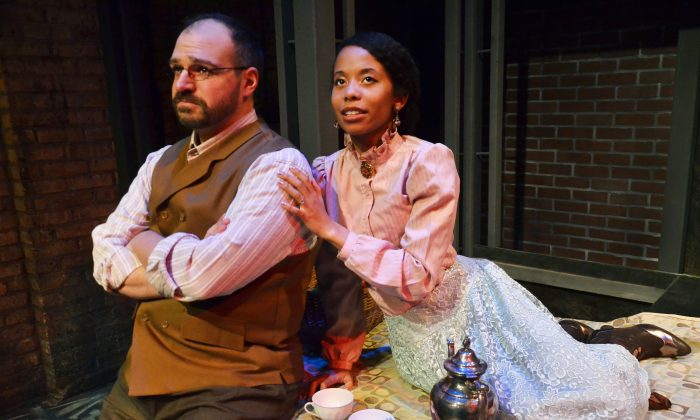 "Dan Granata as Levin and Brandi Lee as Kitty, in Jessica Wright Buha's stage adapation of Leo Tolstoy's ""Anna Karenina."" Levin, in many ways, is an autobiographical character. (Suzanne Plunkett)"
