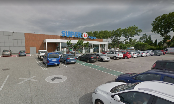 Hostages have been taken at the Super U supermarket in Trèbes, France. Archive photo. (Screenshot via GoogleMaps)