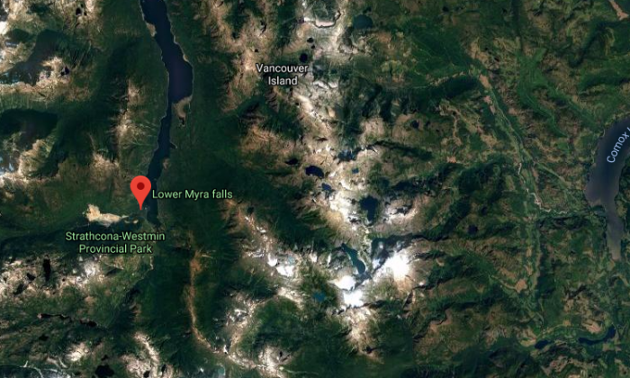 Lower Myra Falls was the site of a heroic rescue by Janson Chapman. (Google Maps)