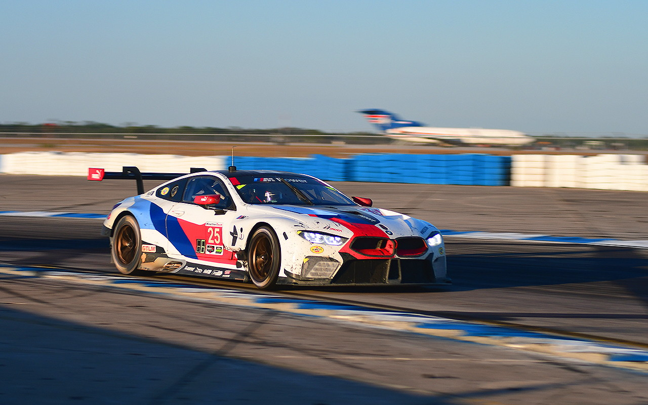 The new BMW M8 GTLM proved to be surprisingly quick. Bill Auberlen, participating in his 25th Sebring 12 hours, shared driving duties in the #25 with Connor De Phillippi and Alexander Sims. The car dropped back early with brake issues but came on strong in the later hours to finish second. (Bill Kent/Epoch Times)