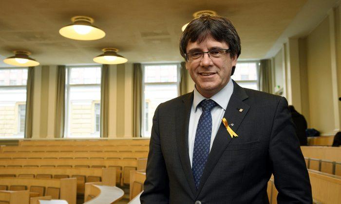 Catalonia's deposed leader Carles Puigdemont lectures at the University of Helsinki, Finland March 23, 2018. (Lehtikuva/Markku Ulander/via Reuters)