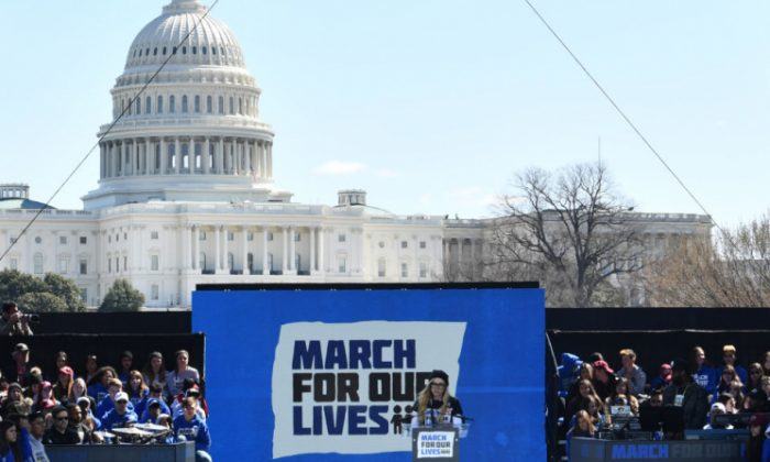 Marjory Stoneman Douglas High School student Delaney Tarr speaks at the March for Our Lives rally in Washington, DC on March 24, 2018.