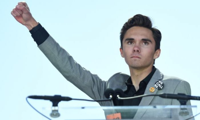 Marjory Stoneman Douglas High School student David Hogg adresses the crowd during the March For Our Lives rally against gun violence in Washington on March 24, 2018. (JIM WATSON/AFP/Getty Images)