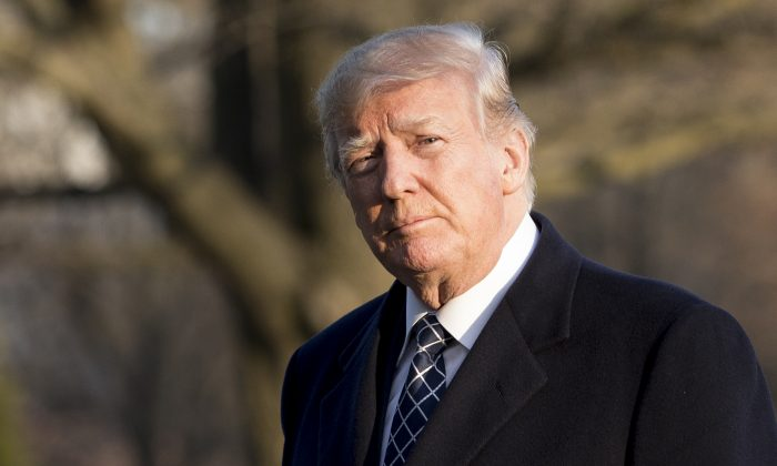 President Donald Trump returns to the White House in Washington on March 25, 2018. (Samira Bouaou/The Epoch Times)
