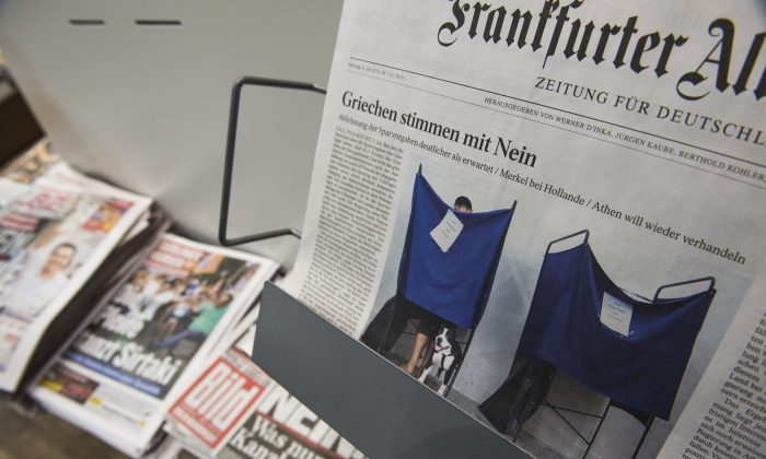 German newspapers seen at a newsstand in Berlin on July 6, 2015. (John Macdougall/AFP/Getty Images)