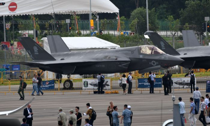 A US Lockheed Martin F-35B fighter jet is displayed during the Singapore Airshow on Feb. 7, 2018. (Roslan Rahman/AFP/Getty Images)