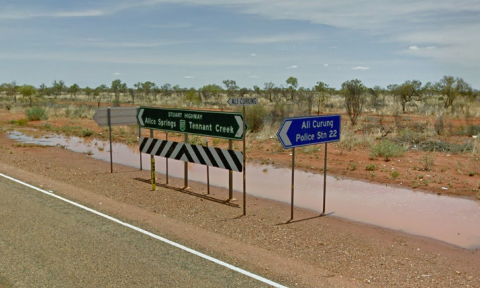 Road signs point to Ali Curung, Northern Territory. (Screenshot via Google Maps)