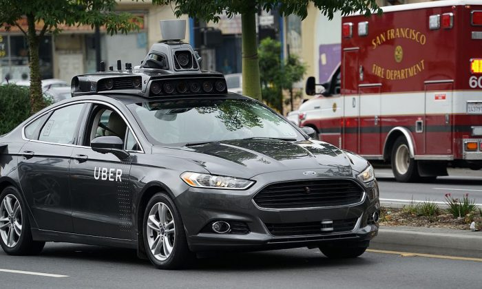 An Uber autonomous vehicle (AV) is pictured driving through San Francisco, Calif., in this undated photo. (Wikimepia commons)