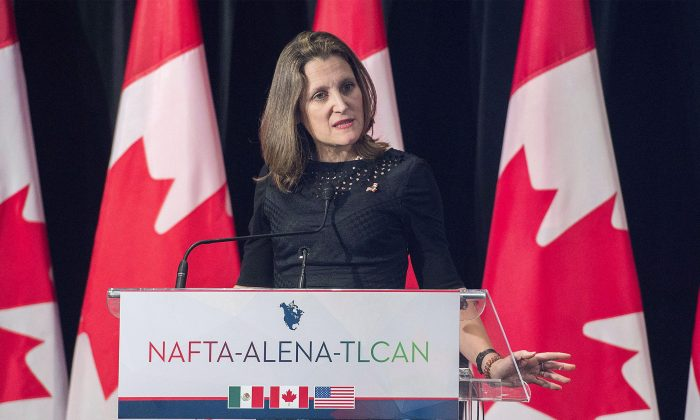 Foreign Affairs Minister Chrystia Freeland speaks to the media following her trilateral briefing with U.S.Trade Representative Robert Lighthizer and Mexico's Secretary of Economy Ildefonso Guajardo Villarreal during the sixth round of NAFTA negotiations in Montreal on Jan. 29, 2018. (The Canadian Press/Graham Hughes)