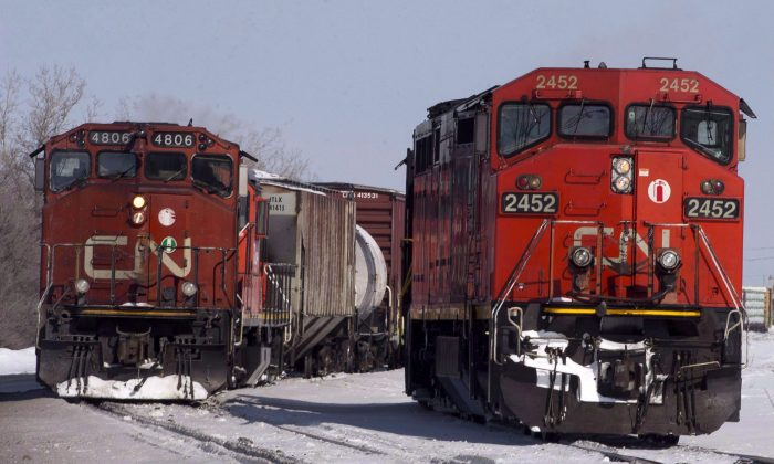 Canadian National locomotives in Montreal. (The Canadian Press/Ryan Remiorz)
