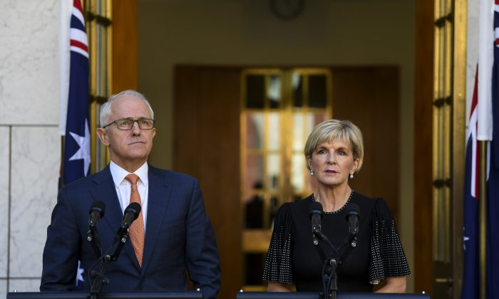 Australian Prime Minister Malcolm Turnbull and Australian Foreign Minister Julie Bishop at Parliament House in Canberra, Australia, March 27, 2018.  AAP Image/Lukas Coch/via REUTERS