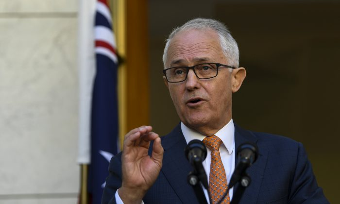 Australian Prime Minister Malcolm Turnbull speaks to the media during a news conference at Parliament House in Canberra, Australia, March 27, 2018. (AAP/Lukas Coch/via Reuters)