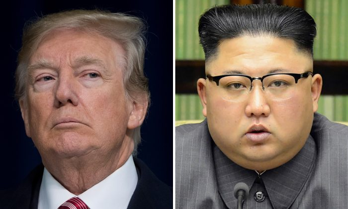 This combination of file photos created on March 9, 2018 shows President Donald Trump speaking during a retreat with Republican lawmakers at Camp David in Thurmont, Maryland on Jan. 6, 2018 (L) and North Korean leader Kim Jong-Un delivering a statement in Pyongyang in a photo taken on Sept. 21, 2017 and released by North Korea's official Korean Central News Agency (KCNA) on Sept. 22, 2017. (KCNA and SAUL LOEB/AFP/Getty Images)