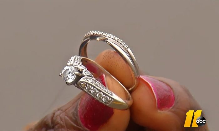 These rings meant much more than money to their owner, and getting them back to their owner meant everything to Esther Daniel. (Screenshot via ABC11)