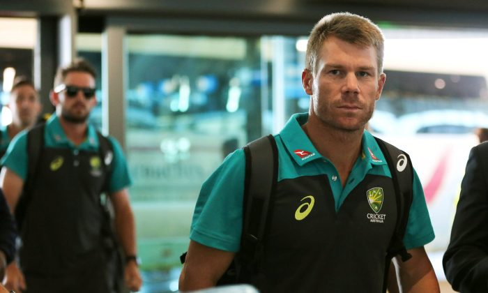 Former Australian cricket vice-captain David Warner arrives at Cape Town International Airport, South Africa March 27, 2018. (Reuters/Sumaya Hisham)