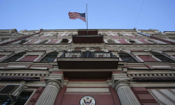 The state flag of the U.S. flies outside the building of the country's consulate-general in St. Petersburg, Russia March 29, 2018. (Anton Vaganov/REUTERS)