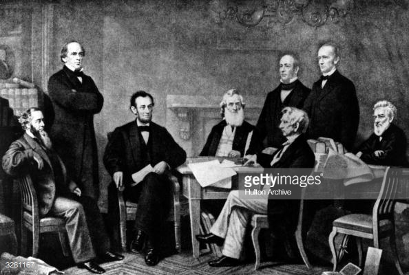 22nd September 1862: Abraham Lincoln (1809 - 1865), the 16th President of the United States of America (1861 - 1865), at the signing of the Emancipation Proclamation, which gave slaves their freedom. (Photo by Hulton Archive/Getty Images)