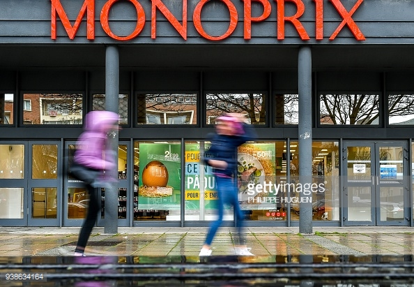 A photo shows a Monoprix logo at a location of the supermarket in Dunkirk on Mar. 27, 2018.  / AFP PHOTO / Philippe Huguen (Photo credit should read PHILIPPE HUGUEN/AFP/Getty Images)