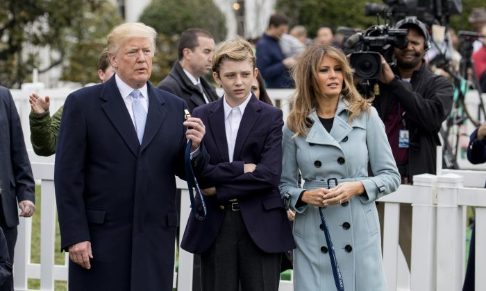 President Donald Trump, First Lady Melania Trump, and Barron Trump at the annual Easter Egg Roll on the South Lawn of the White House on April 2, 2018. (Samira Bouaou/The Epoch Times)