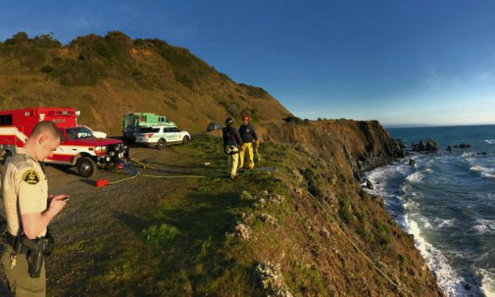 The clifftop in Mendocino County where the SUV was found on Monday 26 March (Mendocino County Sheriff)