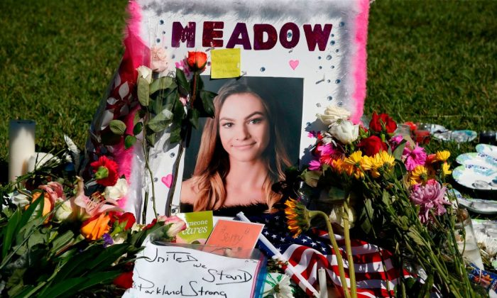 A memorial for Meadow Pollack, one of the victims of the Marjory Stoneman Douglas High School shooting, sits in a park in Parkland, Florida on February 16, 2018. (RHONA WISE/AFP/Getty Images)