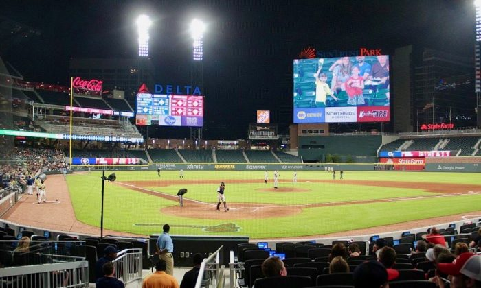 SunTrust Park in Atlanta, GA, where a sports reporter has hit by a pitch that fractured her eye socket. (Credit: By Thomson200 (Own work) [CC0], via Wikimedia Commons)