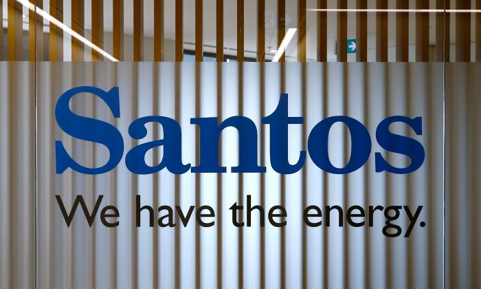 The logo of Australian oil and gas producer Santos Ltd is pictured at their Sydney office Feb. 15, 2016. (Reuters/Jason Reed/File photo)