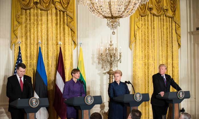 (L-R) Latvian President Raimonds Vejonis, Estonian President Kersti Kaljulaid, Lithuanian President Dalia Grybauskaite, and President Donald Trump at a joint press conference in the East Room of the White House in Washington on April 3, 2018. Baltic states agreed to enhance cooperation in defense and energy during the United States-Baltic Summit. (Samira Bouaou/The Epoch Times)