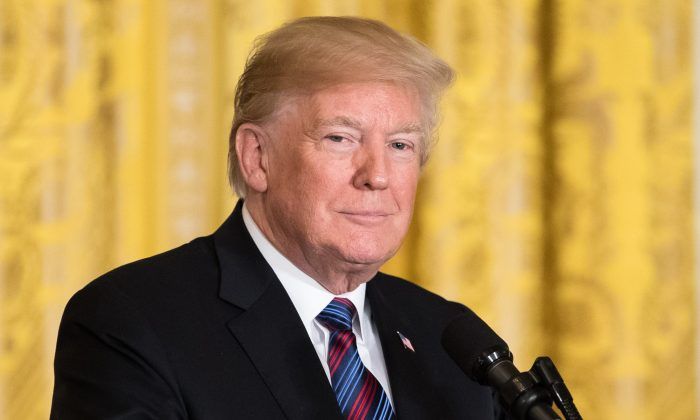 President Donald Trump at a Joint Press Conference with the Baltic States Heads of Government in the East Room of the White House in Washington on April 3, 2018. (Samira Bouaou/The Epoch Times)