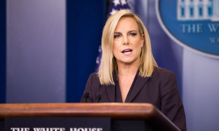 Department of Homeland Security Secretary Kirstjen Nielsen speaks during a press briefing at the White House in Washington on April 4, 2018. (Samira Bouaou/The Epoch Times)