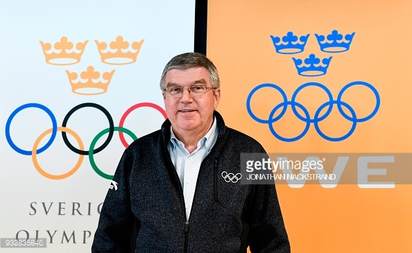 International Olympic Committee president Thomas Bach poses during a press conference on March 16, 2018 in Are, Sweden.  (Photo credit should read JONATHAN NACKSTRAND/AFP/Getty Images)