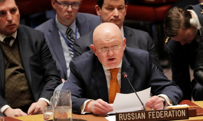Russian Ambassador to the United Nations (U.N.) Vasily Nebenzya speaks regarding an incident in Salisbury, Britain, during a meeting of the U.N. Security Council at the U.N. headquarters in New York, U.S., April 5, 2018. (Reuters/Lucas Jackson)