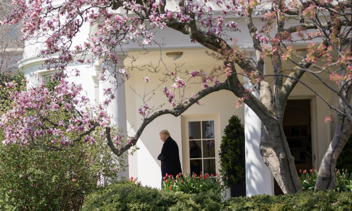 President Donald Trump before boarding Marine One on the South Lawn of the White House in Washington on April 5, 2018. (Samira Bouaou/The Epoch Times)