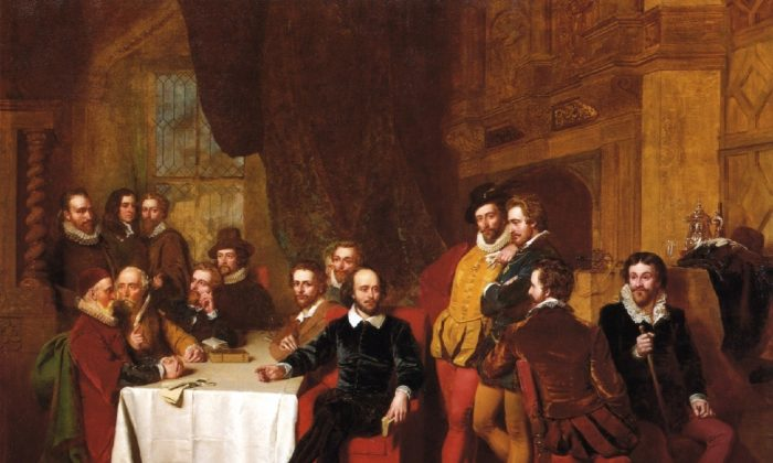 """Shakespeare and His Contemporaries,"" 1851, by John Faed. Where exactly was the theater in which Shakespeare's plays first appeared? (Public Domain)"