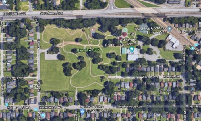Glenview Park in Memphis, Tennessee, where a police chase ended with the arrest of a teen wanted for murder. (Screenshot via Google Maps)