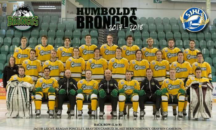 The 2017-2018 Humboldt Broncos Saskatchewan Junior Hockey League team is pictured in this undated handout photo. (Amanda Brochu/Handout via REUTERS)