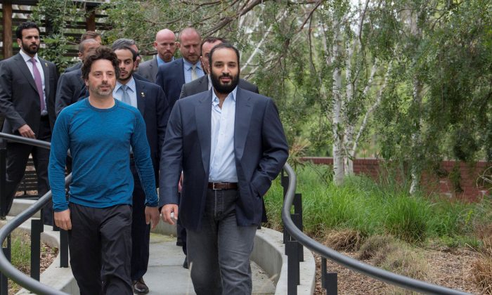 Saudi Arabia's Crown Prince Mohammed Bin Salman walks during his visit to Google company in Silicon Valley, U.S., April 6, 2018. (Bandar Algaloud/Courtesy of Saudi Royal Court/Handout via Reuters)